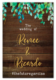 wild-leaves-and-dark-wood-rustic-engagement-welcome-sign