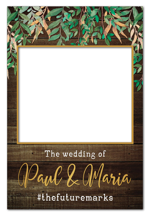 rustic-leaves-and-dark-wood-photo-booth-frame-wedding