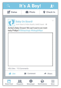 It's A Boy Facebook Frame - Large (80 x 110 cm)