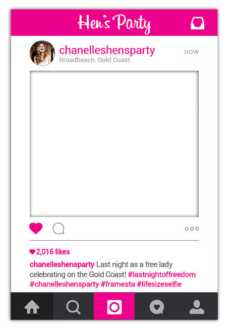 Hens Party Instagram Frame Prop Australia Large 80 X 110 Cm