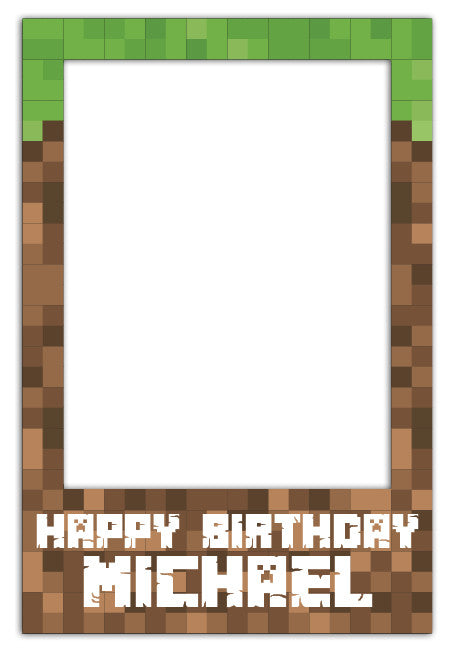 Minecraft Party Photo Booth Frame Medium 60 X 90 Cm
