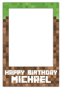 Minecraft Party Photo Booth Frame - Medium (60 x 90 cm)