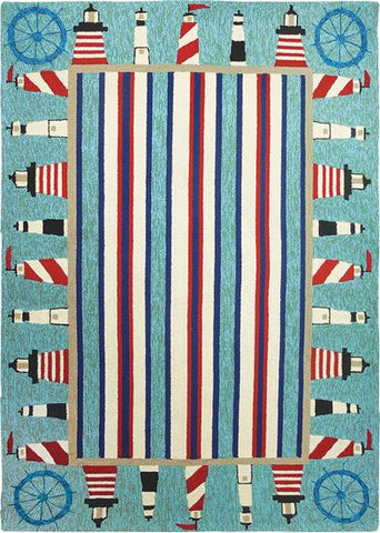 Lighthouse Brigade Nautical Outdoor Rug - By the Sea Beach Decor