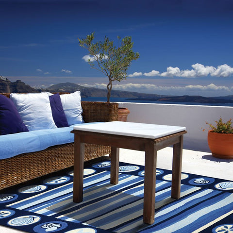 Stripes & Shells Coastal Outdoor Rug - By the Sea Beach Decor