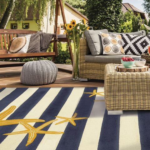 Starfish Gunmetal & Gold Outdoor Rug