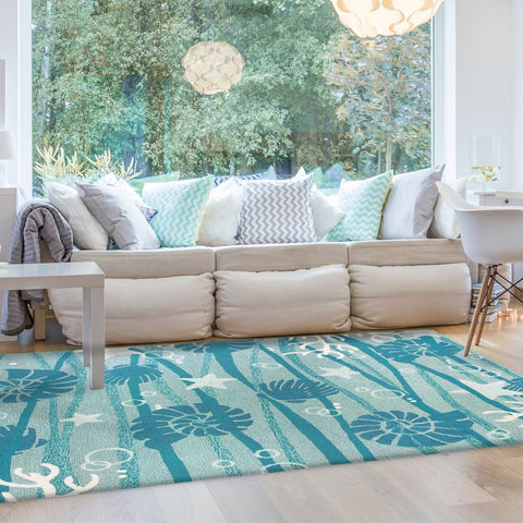 La Mer Coastal Outdoor Rug - By the Sea Beach Decor