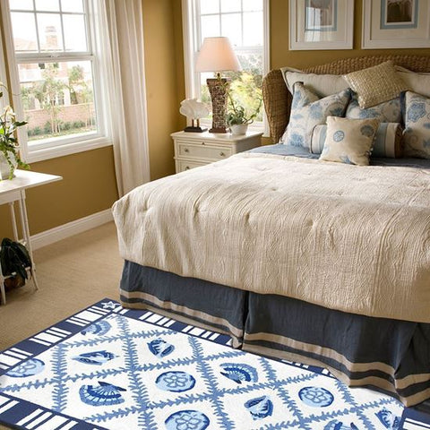 Navy Blues Area Rug - By the Sea Beach Decor
