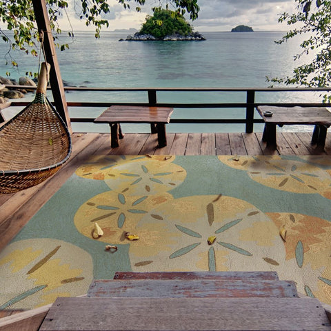 Sand Dollars Outdoor Rug - By the Sea Beach Decor