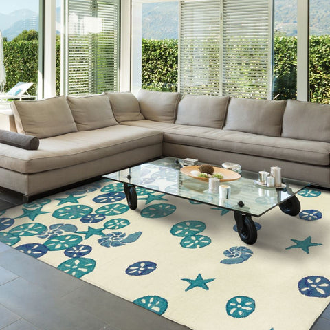 Sea Glass & Sand Dollar Outdoor Coastal Rug - By the Sea Beach Decor