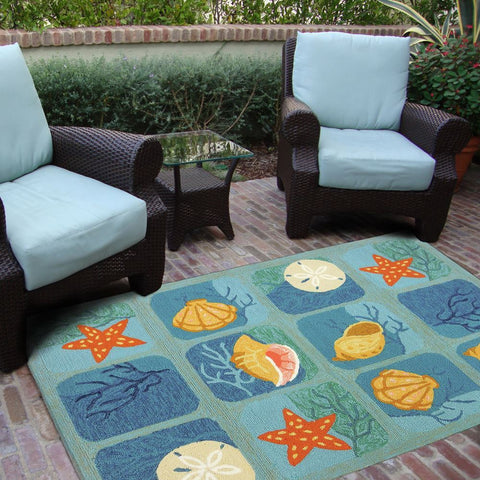Aqua Shell Tile Beach Outdoor Rug - By the Sea Beach Decor