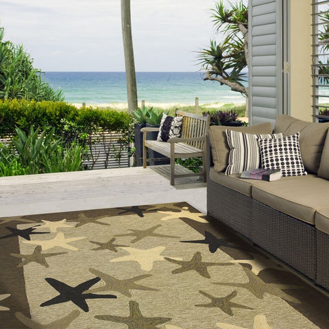 Starfish Field Beach Outdoor Rug - By the Sea Beach Decor