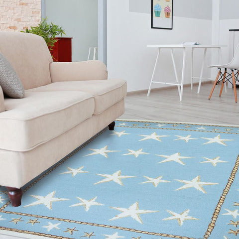 Starfish Scatter Coastal Outdoor Rug - By the Sea Beach Decor
