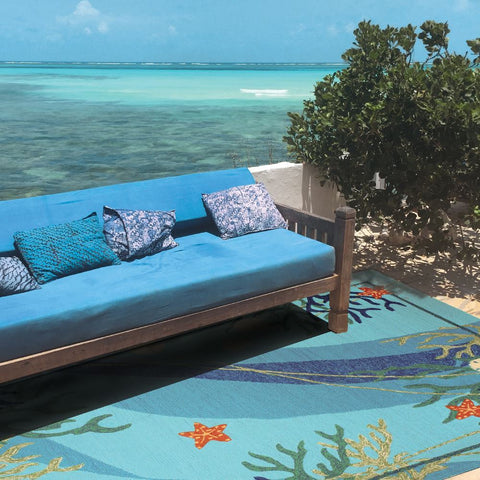 Underwater Coral & Starfish Outdoor Rug - By the Sea Beach Decor