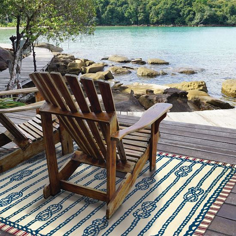 Sailor's Knot Coastal Outdoor Rug - By the Sea Beach Decor