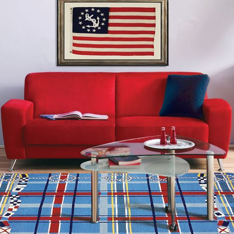 Plaid Nautical Outdoor Rug - By the Sea Beach Decor