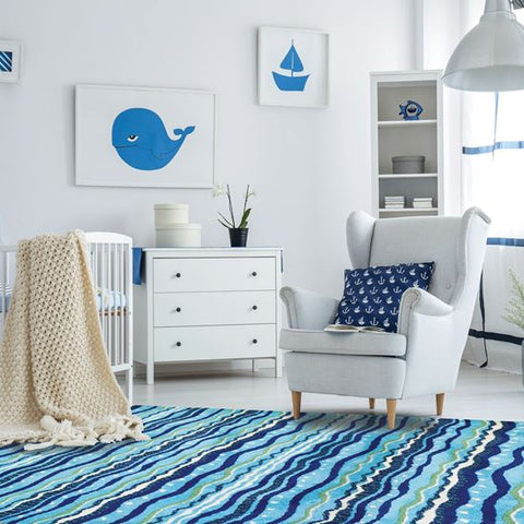 Coastal Rug Wavey Stripes