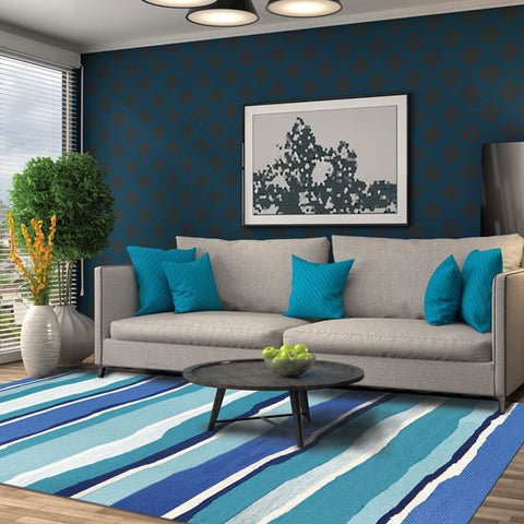 Sea Breeze Blues Outdoor Coastal Rug - By the Sea Beach Decor