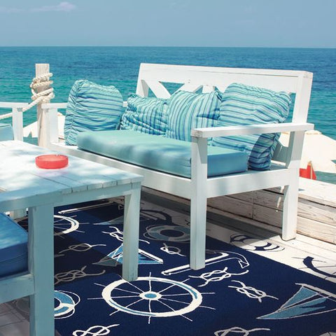 Blue & White Nautical Outdoor Rug - By the Sea Beach Decor