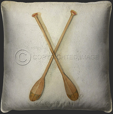 Neptune Oars Printed Pillow - By the Sea Beach Decor