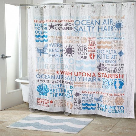 Beach Words Shower Accessories - By the Sea Beach Decor