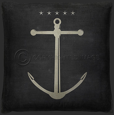 Neptune Anchor 4 Print Pillow - By the Sea Beach Decor