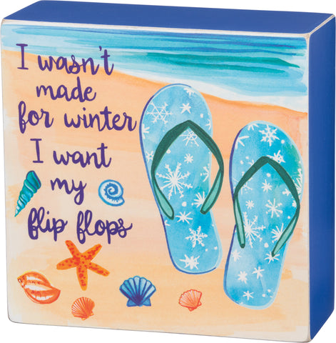 Holiday Sign Flip Flop Winter Box Sign - By the Sea Beach Decor