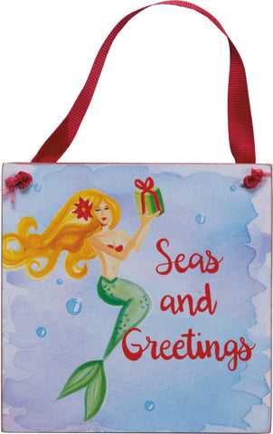 Seaside Holiday Seas & Greetings Ornament - By the Sea Beach Decor