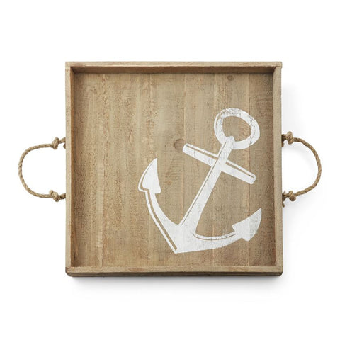 Anchor Wood Tray Beach Decor Serveware