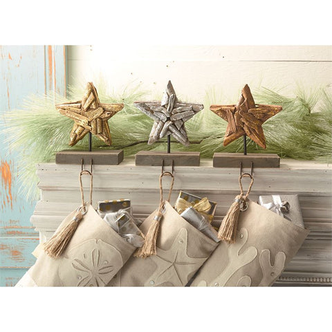 Sea Christmas Driftwood Stocking Holder - By the Sea Beach Decor