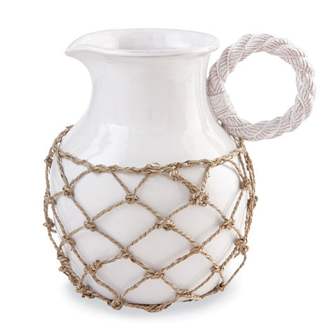 Rope Handled Pitcher with Net - By the Sea Beach Decor