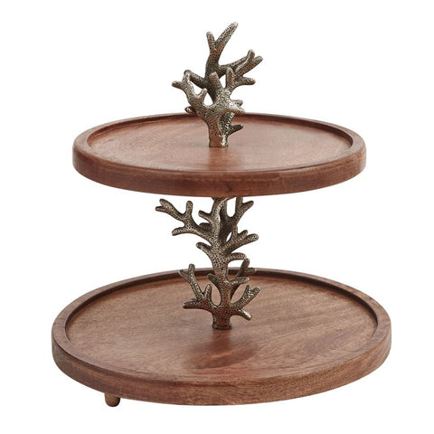 Sea Life Wood Tiered Server - By the Sea Beach Decor