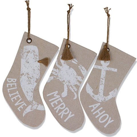 Sea Christmas Chambray Stocking - By the Sea Beach Decor