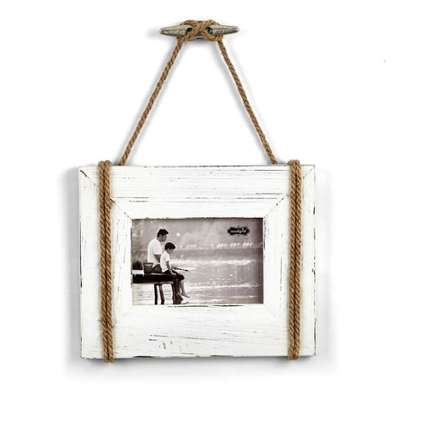 White Hanging Rope Frame - By the Sea Beach Decor