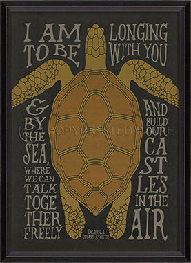 Coastal Poster Turtle Black Framed Art - By the Sea Beach Decor