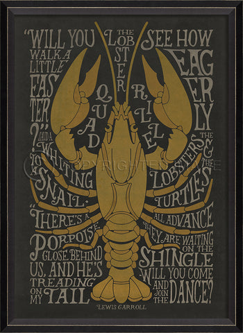 Coastal Poster Lobster Black Framed Art - By the Sea Beach Decor