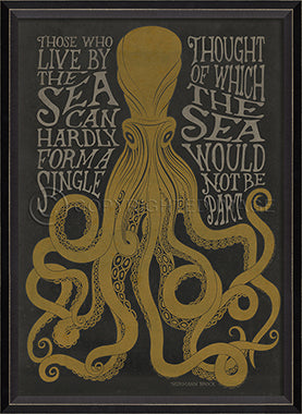 Coastal Poster Octopus Black Framed Art - By the Sea Beach Decor