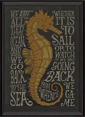 Coastal Poster Seahorse Black Framed Artwork - By the Sea Beach Decor