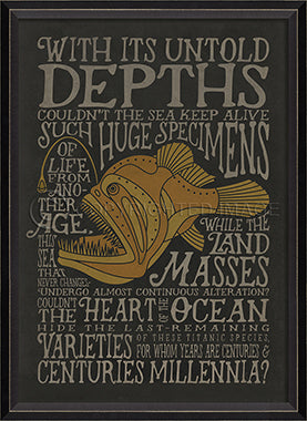 Coastal Poster Untold Depths Black Framed Art - By the Sea Beach Decor
