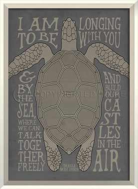 Coastal Poster Turtle Gray Framed Art - By the Sea Beach Decor