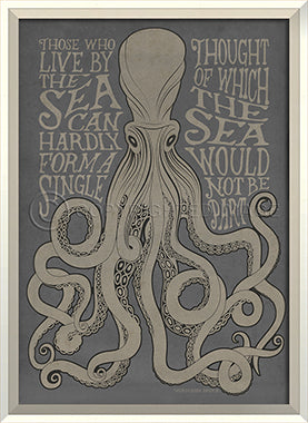 Coastal Poster Octopus Gray Framed Art - By the Sea Beach Decor