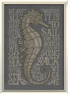 Coastal Poster Seahorse Gray Framed Art - By the Sea Beach Decor