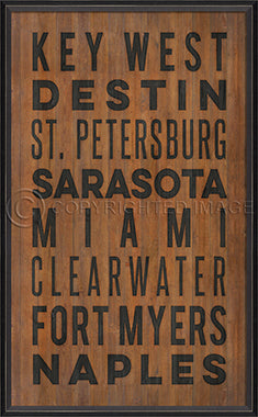 Coastal Poster Beach Towns Florida Black - By the Sea Beach Decor