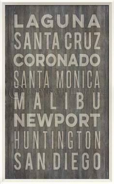 Coastal Poster California Beach Towns Gray - By the Sea Beach Decor