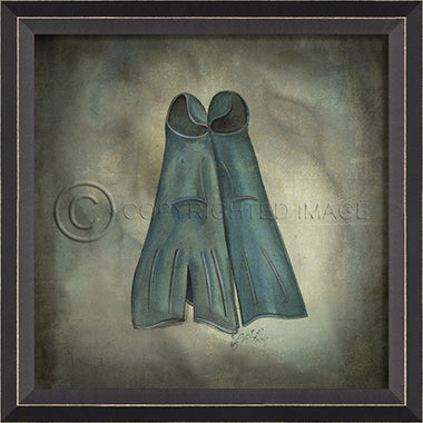 Scuba Gear Flippers Framed Artwork - By the Sea Beach Decor