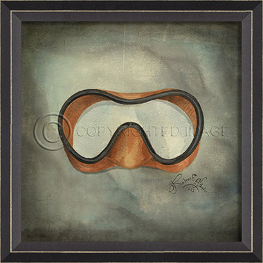 Scuba Gear Goggles Framed Artwork - By the Sea Beach Decor