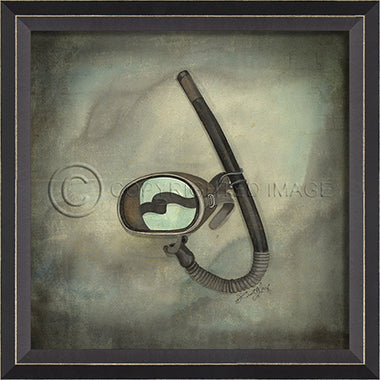 Scuba Gear Mask Framed Artwork - By the Sea Beach Decor