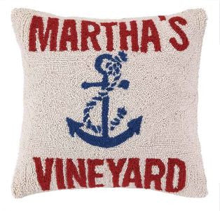 "Anchored at Martha's Vineyard 16"" Wool Pillow - By the Sea Beach Decor"