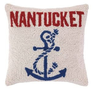 "Anchored at Nantucket 16"" Wool Pillow - By the Sea Beach Decor"