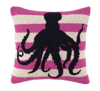 "Avila Beach Octopus 18"" Hook Pillow - By the Sea Beach Decor"