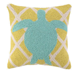 "Avila Beach Sea Turtle 18"" Hook Pillow - By the Sea Beach Decor"
